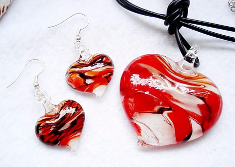 NP96 Red Black Swirl Murano Glass Heart Necklace Earrings Set