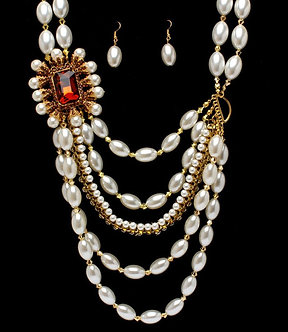 NP1026 Chunky Faux Pearl Crystal Stone Cascade Drop Necklace Set