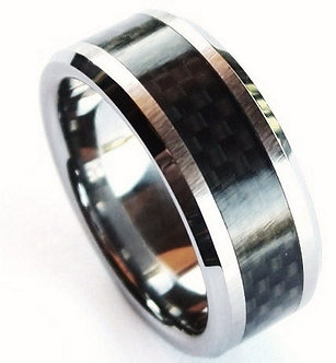 TU3051 Black Carbon Fiber Tungsten Carbide Ring