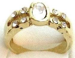 GR08 Sparkling Clear CZ High Polish 18K Gold Ring