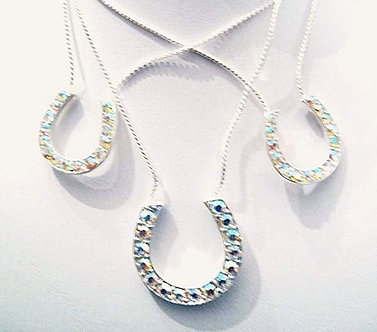 NP02 AB Crystal  Horseshoe Crisscrossing Chains Necklace Pendant