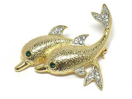 BP26 Exquisite Gold Textured Dolphins Crystal Brooch