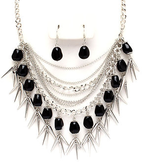 NP1017 Multistrand Black Natural Stone Chains Spike Necklace Set