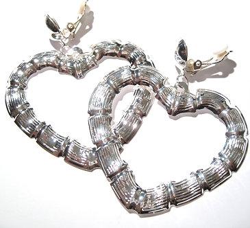"""EA55 Large 2.25"""" Silver Bamboo Heart Clip On Dangle Earrings"""