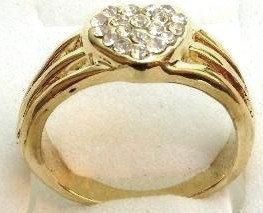 GR11 Sparkling Clear CZ Heart High Polish 18K Gold Ring