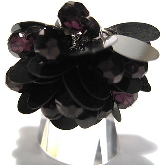OS45 Dazzling BLACK Sequins Beads Cluster Cha Cha Ring