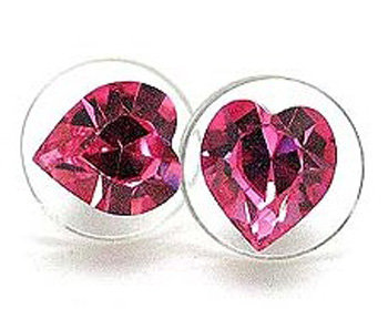 EA62 Pink Swarovski Crystal HEART Stud Earrings