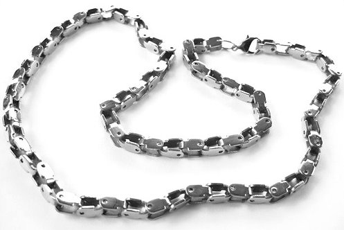 SSN395 Shiny Box Links Chunky Stainless Steel Chain Necklace 22 Inches