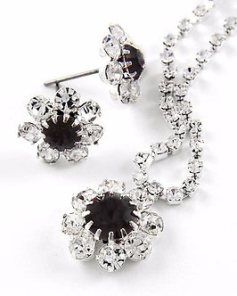 NP1103 Sparkling Crystal Paved Rhodium Plated Necklace Set - Color Choice