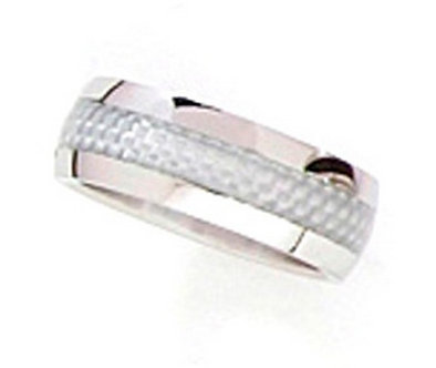 SSR06 - 8mm Silver Carbon Fiber Stainless Steel Ring