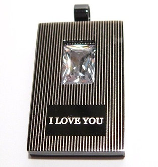 SSP3663 I LOVE YOU CZ Black Stainless Steel Pendant w SS Chain