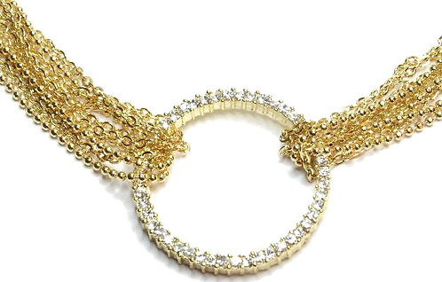 NP33 Multi-Chain CZ Paved Circle of Life Gold Choker Necklace