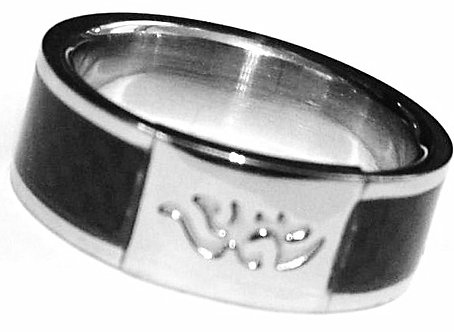SSR2589 Black Carbon Fiber Tribal Stainless Steel Ring