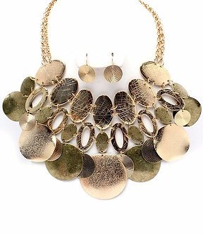 NP1045 Antique Gold Discs Chunky Necklace Set