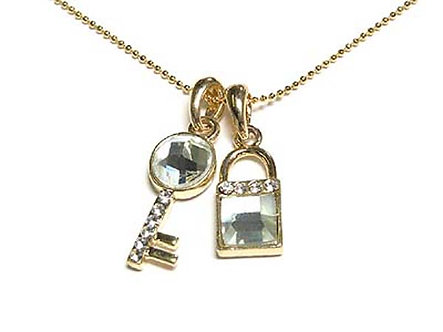 NP39 Gold CZ Lock and Key Pendant Necklace