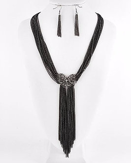 NP1104 Black Multistrand Chains Drop CZ Chunky Necklace Set