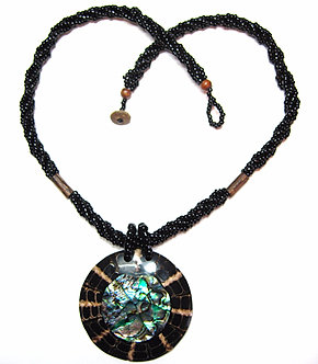 NP158 Abalone Shell Coconut Disc Beaded Pendant Necklace
