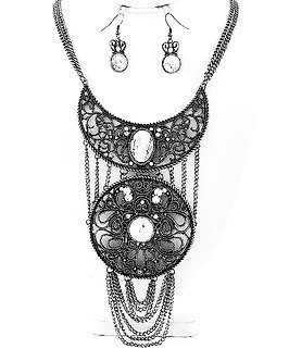 NP1121 Antique Silver Chains Black Filigree Chunky Necklace Set