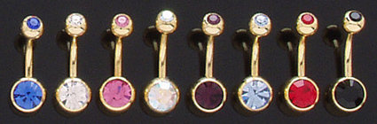 BJ121 Double CZ 14K Gold Plated Navel Belly Ring