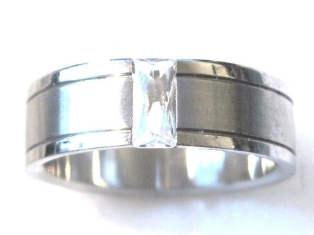SSR24 - 8mm Unisex CZ Baguette Stainless Steel Ring