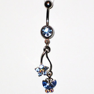 BJ42 Crystal Butterfly Flower Dangle Stainless Steel Belly Ring