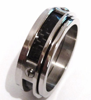 SSR2344 Black Carbon Fiber Stainless Steel Ring