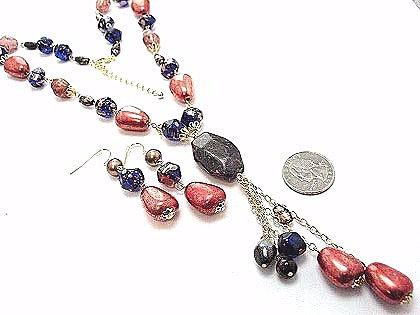 NP145 Black Copper Bead Y Drop Necklace Set