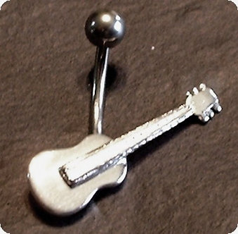 BJ125 Unique Sterling Silver Guitar Navel Belly Ring 14G