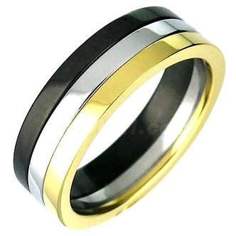 SSR2295 Black Gold Stainless Steel Band Ring