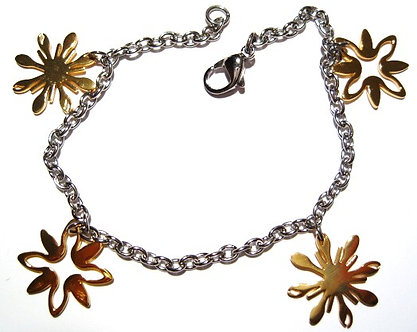 SSB8622 Gold Flower Power Stainless Steel Chain Bracelet
