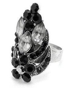 OS28 Black Crystal Anti Tarnish Cocktail Ring