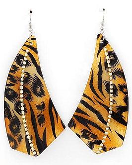 EA22 Trendy Tiger Animal Print Acrylic Clear Crystals Dangle Earrings