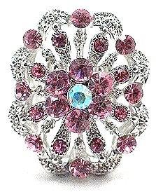 OS11 Pink Crystal Anti Tarnish Cocktail Ring