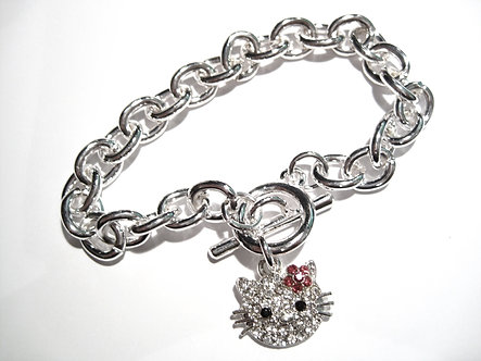 BR12 Sparkling Crystal Pave Hello Kitty Toggle Bracelet
