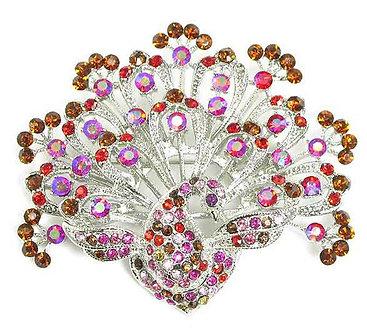 BP32 Stunning Multicolor Crystal Paved Peacock  Brooch