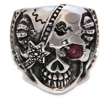 SSR4416 Chunky Red CZ Skull Biker Stainless Steel Ring
