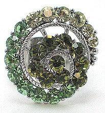 OS36 Green Crystal Anti Tarnish Cocktail Ring