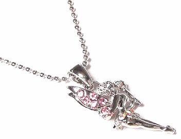NP69 Pink Crystal Fairy Rhodium Ball Chain Pendant