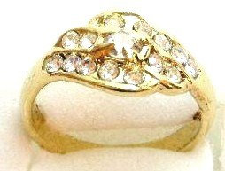 GR09 Sparkling Clear Crystals High Polish 18K Electroplate Gold Ring