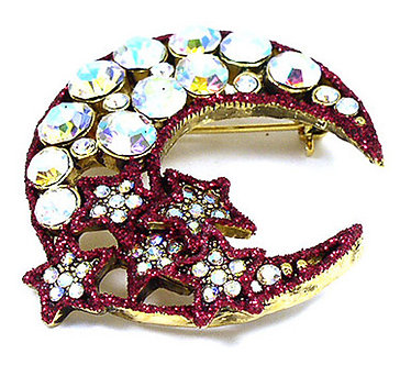 BP55  AB Crystal Gold Red Stars Crescent Moon Brooch