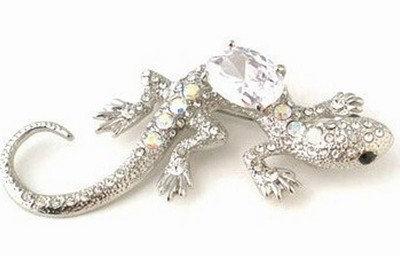 BP01 Large Silver Crystal Lizard Brooch