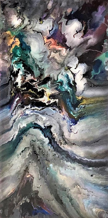 Thoughtfulness - Abstract Fluid Acryic Art - Mixed Media