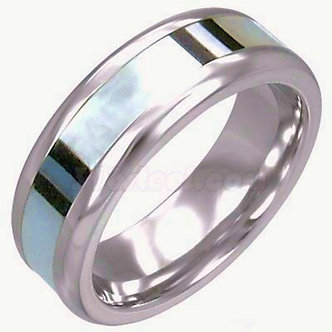SSR701 Shell Inlay Stainless Steel Ring