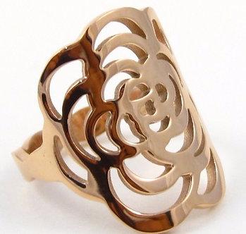 SSR4811 Copper Rose Flower Stainless Steel Ring