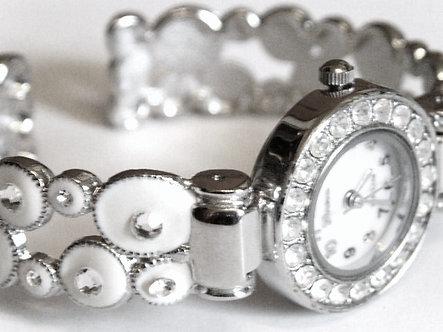 WW130 White Enamel Crystal Bubble Cuff Watch