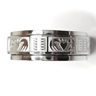 SSR7004 Spinning Stainless Steel Irish Claddagh Wedding Ring
