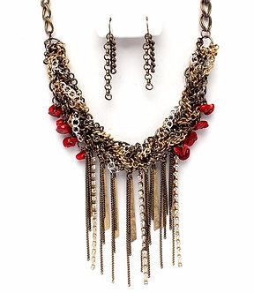 NP1030 Antique Gold Tassel Multi Chains Red Stones Cascade Drop Necklace Set