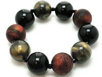 BR19 Multi Tone Lucite Marble Beads Stretch Bracelet
