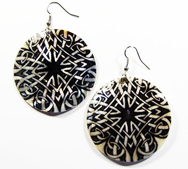 EA127 Unique Art Deco Pattern Shell Dangle Earrings