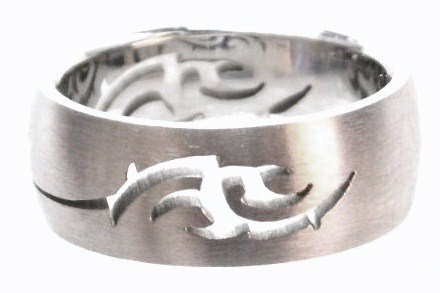 SSR42 Tribal Laser Cut Satin Finish Stainless Steel Ring